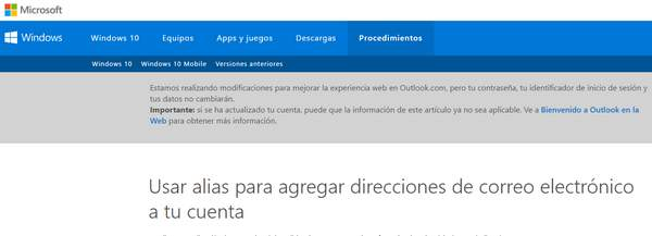 Usa diferentes alias en outlook correo